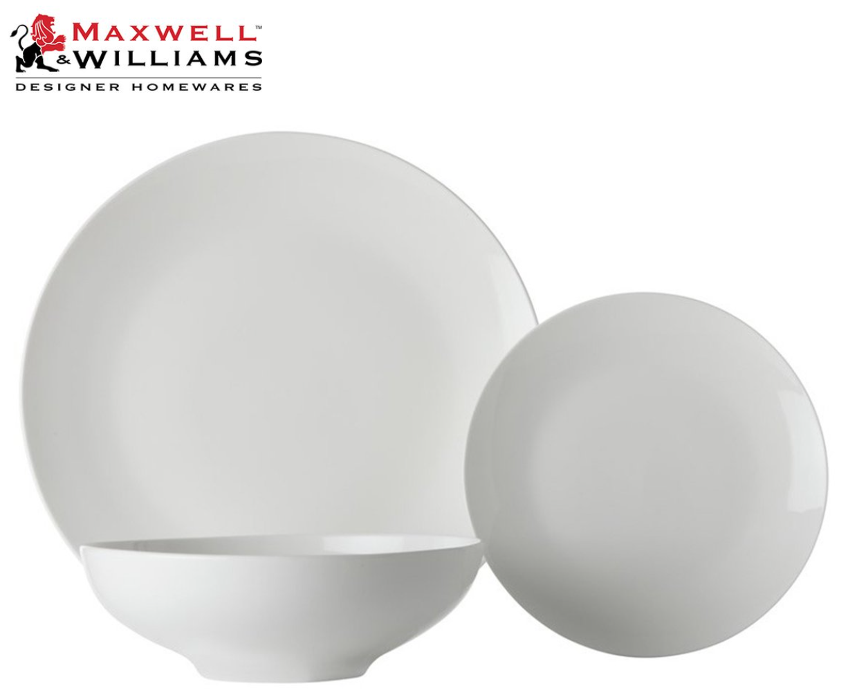 Maxwell & Williams 18-Piece White Basics Tribeca Coupe Dinner Set - $74.95  Was 129.55