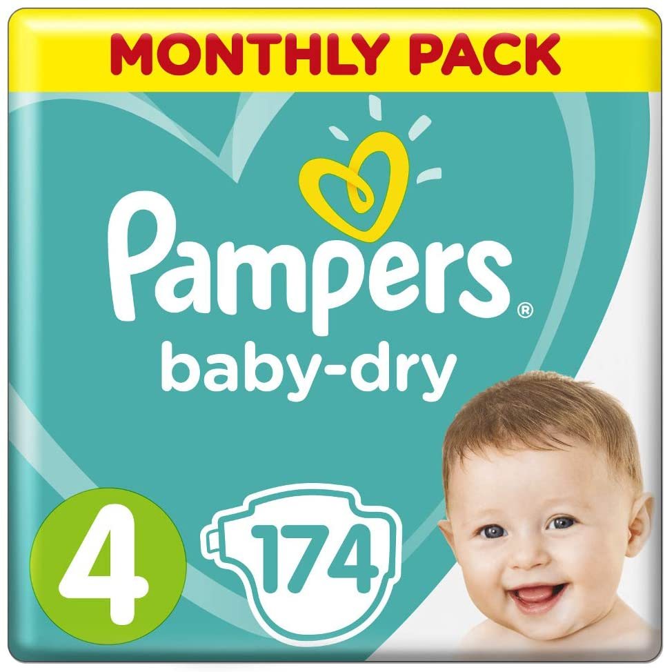 Pampers Baby-Dry Nappies Size 4 Toddler, 174 Nappies, 9-14kg, Monthly Pack $68  Subscribe & Save: $57.80 @ Amazon
