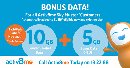 Activ8me are extending their 15GB Peak Data per week Bonus Data! (10 from nbn + 5 on us)  @ activ8me