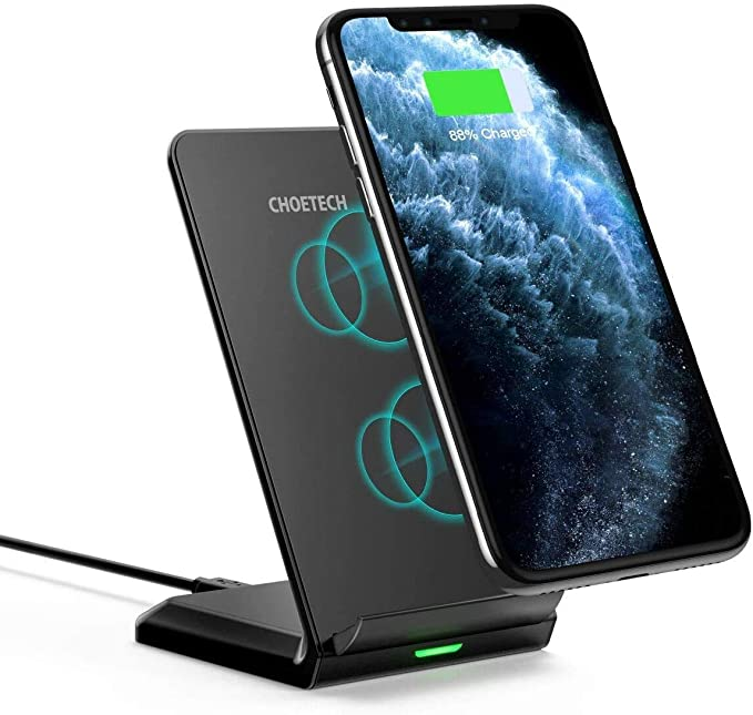 CHOETECH Wireless Charger,Fast Wireless Charging Stand 7.5W Compatible with iPhone SE 2020/11/11 Pro/11 Pro Max/XS/XR/XS Max/8/8+,10W