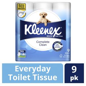 Kleenex Complete Clean Toilet Tissue 9 Rolls on special $4 WAS  $8 @ Coles