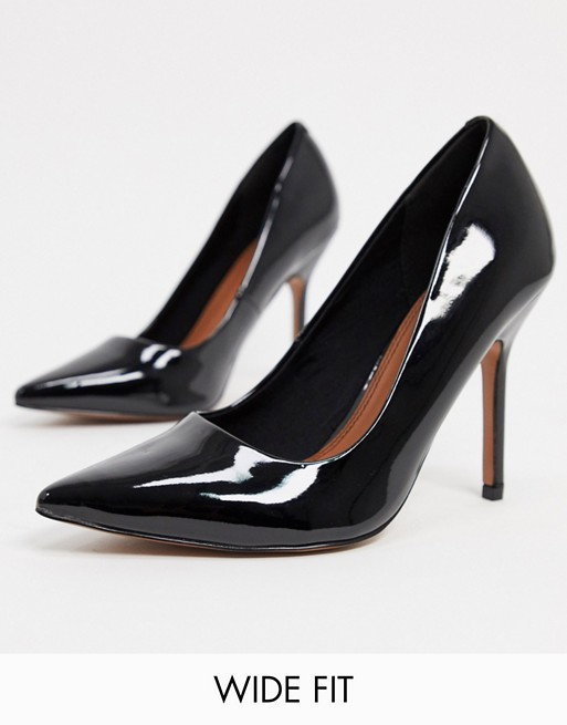 ASOS DESIGN Wide Fit Phoenix pointed high-heeled court shoes in black $24.5 WAS $50 @ ASOS