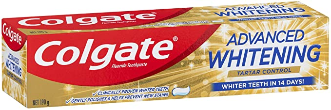 Colgate Advanced Whitening Tartar Control Whitening Toothpaste with Microcleansing Crystals Whiter Teeth in 14 Days 190g @Amazon