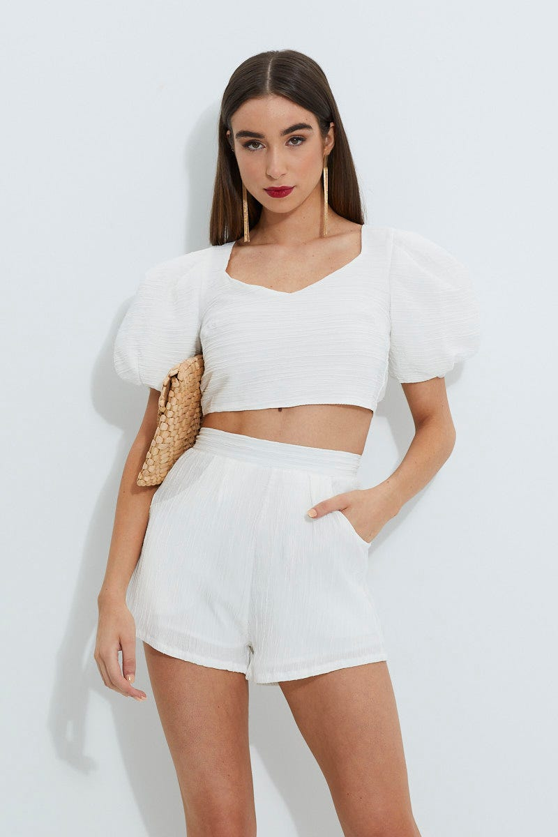 Designer Collection Designer Textured Strappy Puff Sleeve Crop Top AU $10.79 @ Ally Fashion