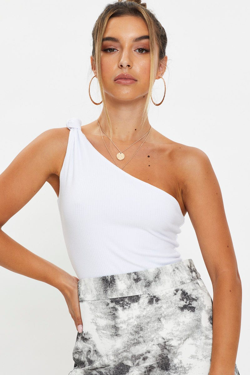 Designer Collection Designer Knot Detail One Shoulder Bodysuit AU $8.99 @ Ally Fashion
