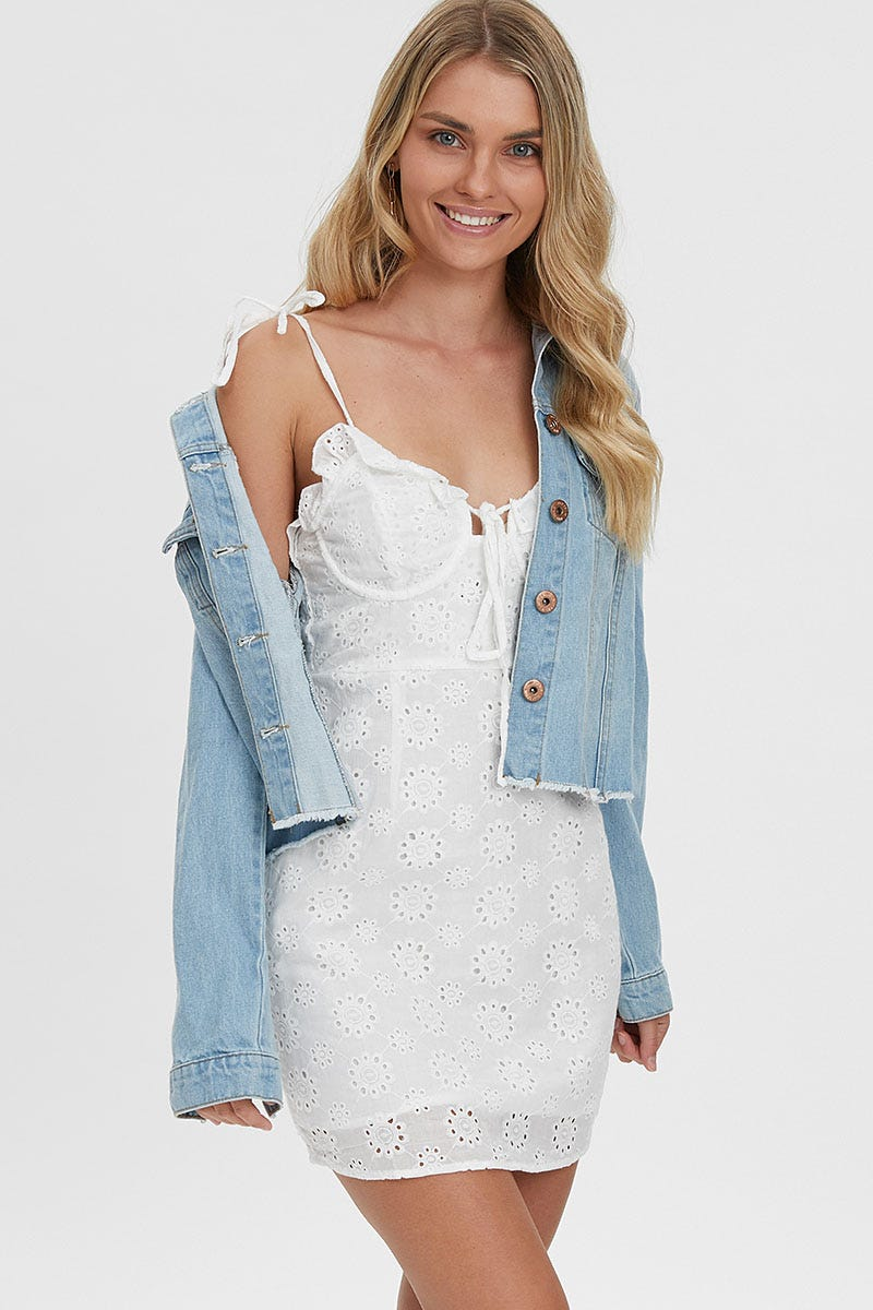 Ally Fashion Broderie Bustier Frill Detail Mini Dress AU $10.79 @ Ally Fashion