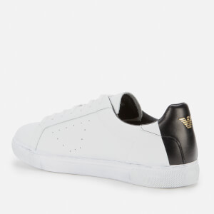 Emporio Armani Men's Leather Low Top Trainers - White $178.50 @ Allsole