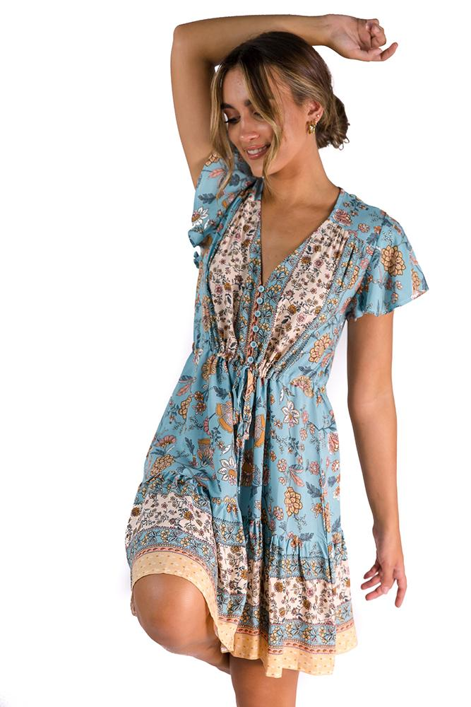 Lucinda Dress Blue/Beige $59.00 @ ark and arrow