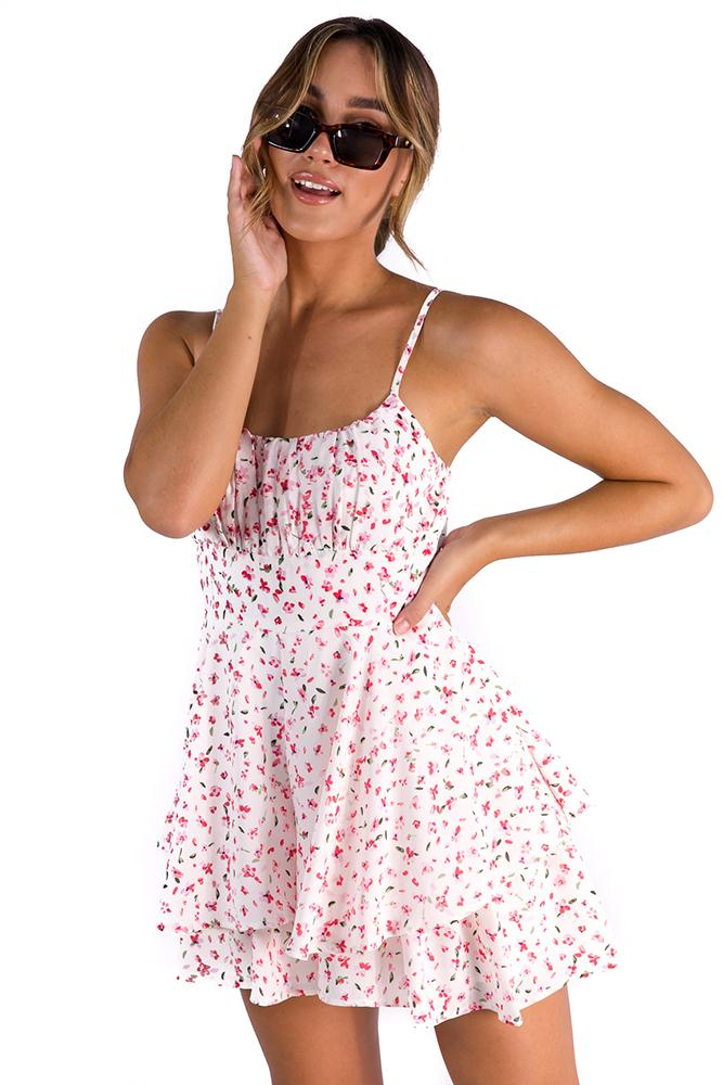 Long Lost Lover Playsuit White/Pink $59.00 @ ark and arrow