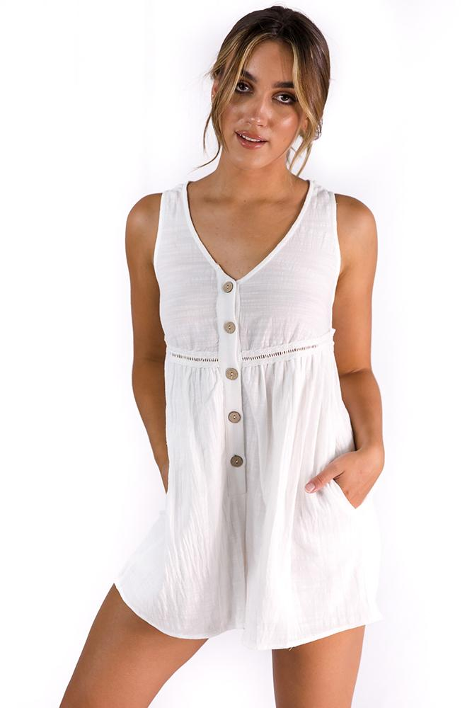Meet Me In Oasis Playsuit White $49.00 @ ark and arrow