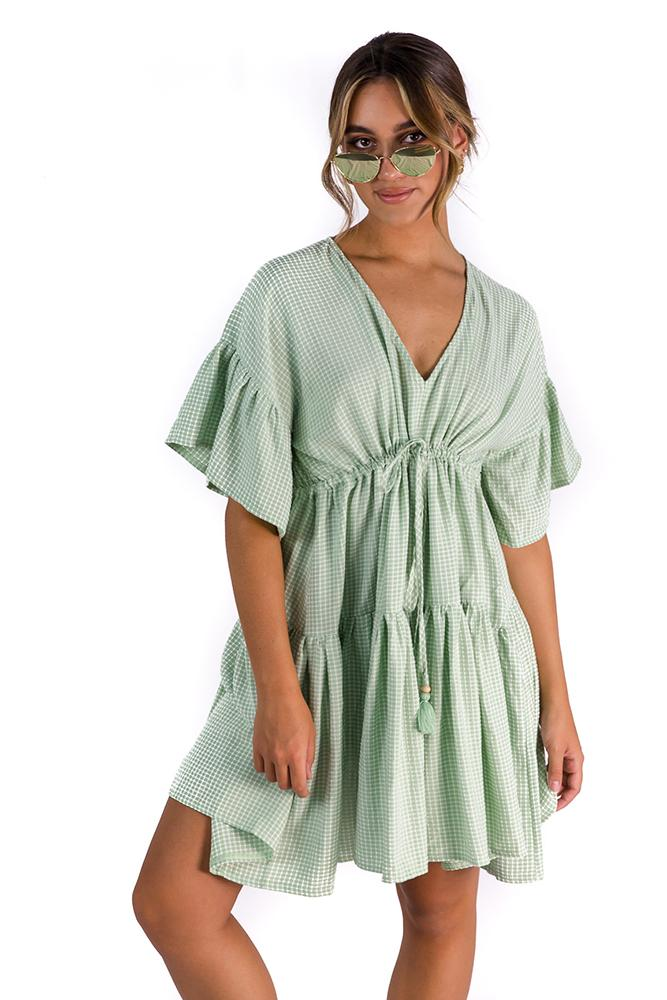 Never Forget Gingham Dress Green $69.00 @ ark and arrow