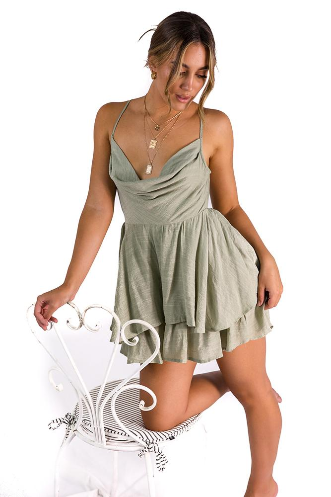 Let It Be playsuit Sage $59.00 @ ark and arrow
