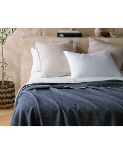 Accessorize Blue 400GSM Herringbone Wool Blanket - Double Bed $182 @ April & Oak