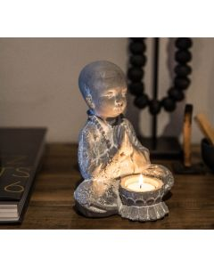 Baby Cement Buddha Candle Holder with One White T Lite Candle $18 @ April & Oak