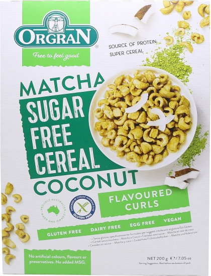 Orgran Matcha & Coconut Sugar Free Cereal Curls $5.55 @ Aussie Health Products