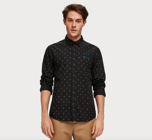 L/S Cotton Shirt in Black with Multiprint Logo A$83.64 @ Atterley