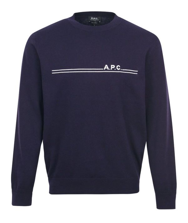 APC Logo Cashmere Mix Knitted Crewneck Navy A$256.68 @ Atterley
