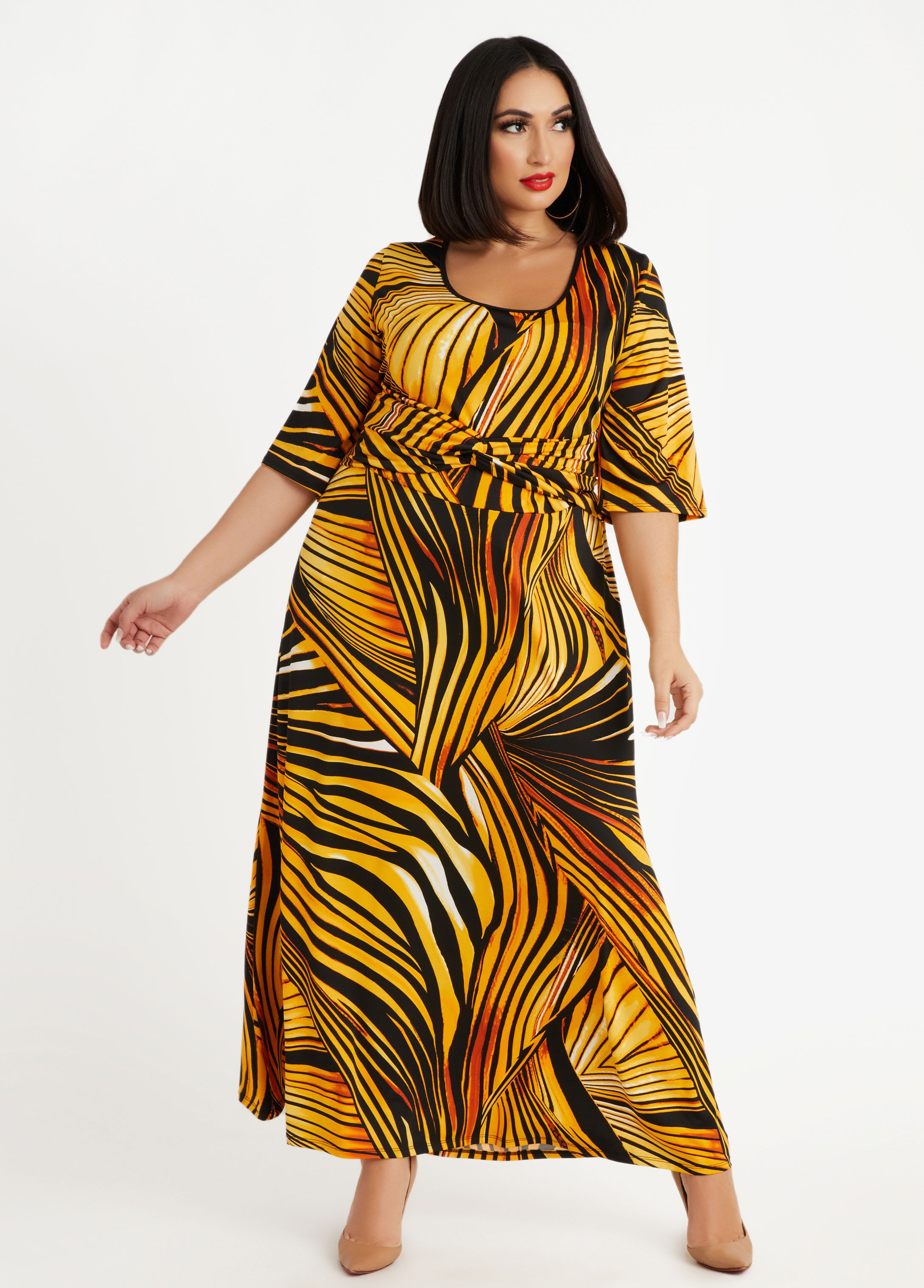 Abstract Knot Front Knit Maxi Dress $35.70 @ Ashley Stewart