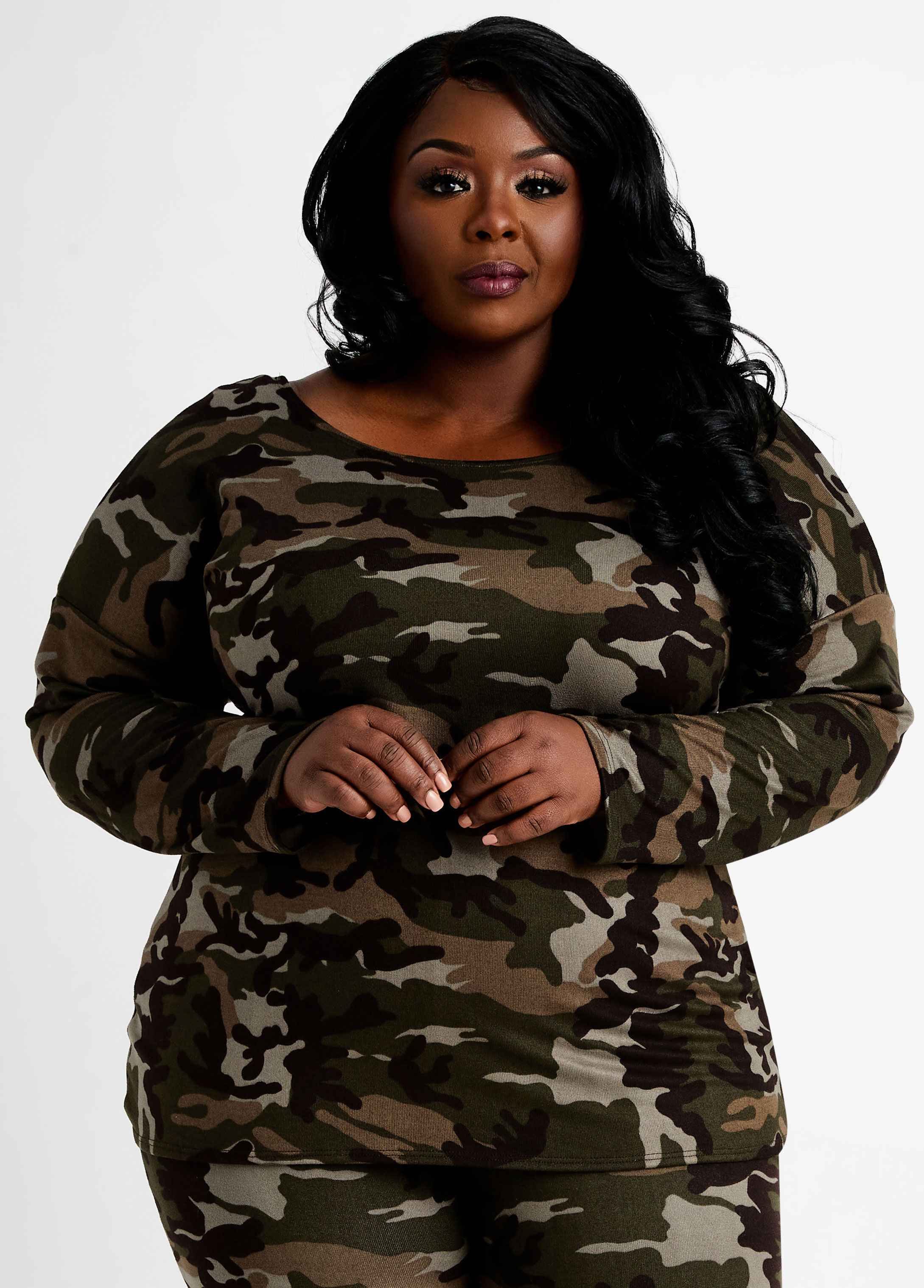 Cozy Lounge Camo Knot Back Top $20.70 @ Ashley Stewart