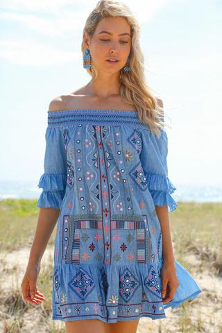 Monica Embroidered Dress in Tulum $83.30 @ Adrift