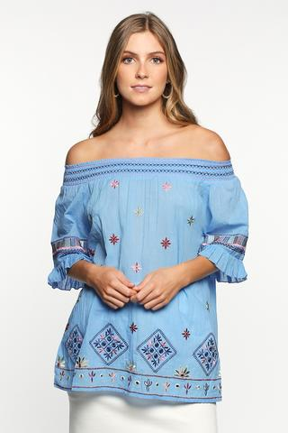 Monica Embroidered Top in Tulum $66.50 @ Adrift